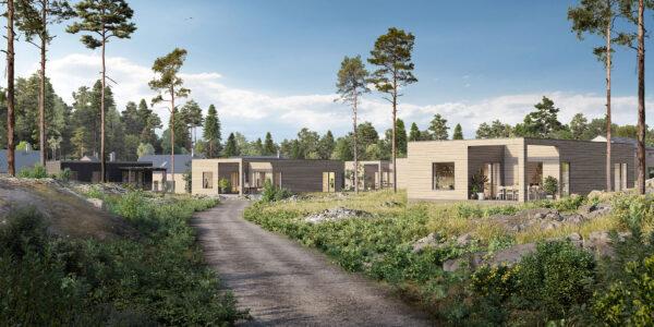 Framtidens semesterboenden i naturliga nyanser och varierande former i Svärdsklovas skärgårdsmiljö.