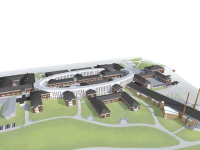 Illustrations över området Archus Development projektleder fram trafikverkets nya lokaler. Lokalerna sammanfogas med en ellips.