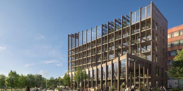 Träbyggnad i assymmetrisk arkitektur i kvarter Isafjord som Archus projekterar