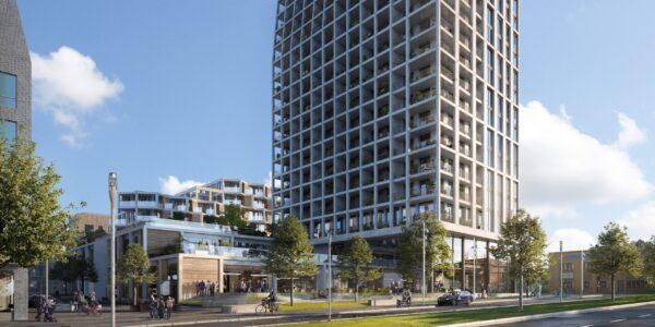 Höghus möter hus med assymmetrisk arkitektur i kvarter Isafjord som Archus projekterar