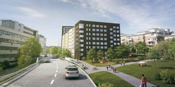 Entrén till bostadshuset Hulte, som sammanlänkar ett byggkropp med fyra våningar och en med 16 våningar.