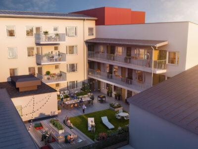 Illustrationsbild av bostadsrättföreningen Årummets innergård där aktiva familjer bor.