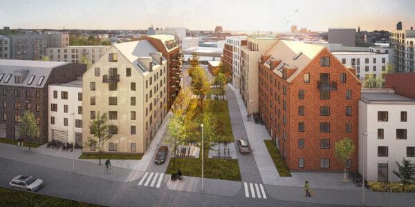 Arkitektritad vy över Archus stadsutvecklade område Isolator med byggnader i varierande färg och material