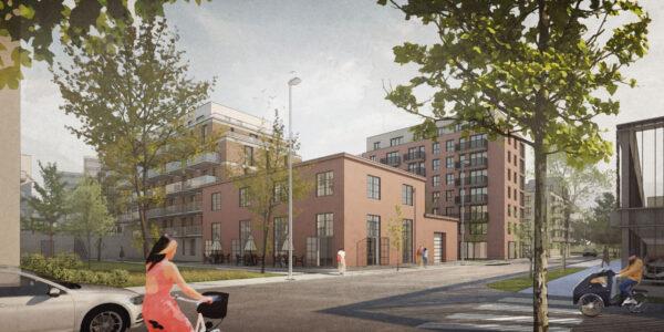 Arkitektritad illustration över Archus stadsutvecklade område Isolator med moderna byggander i varierande höjd