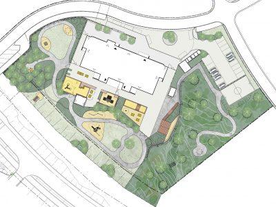 Skiss över förskolan Malmens utemiljö som har planerats för elevernas utveckling
